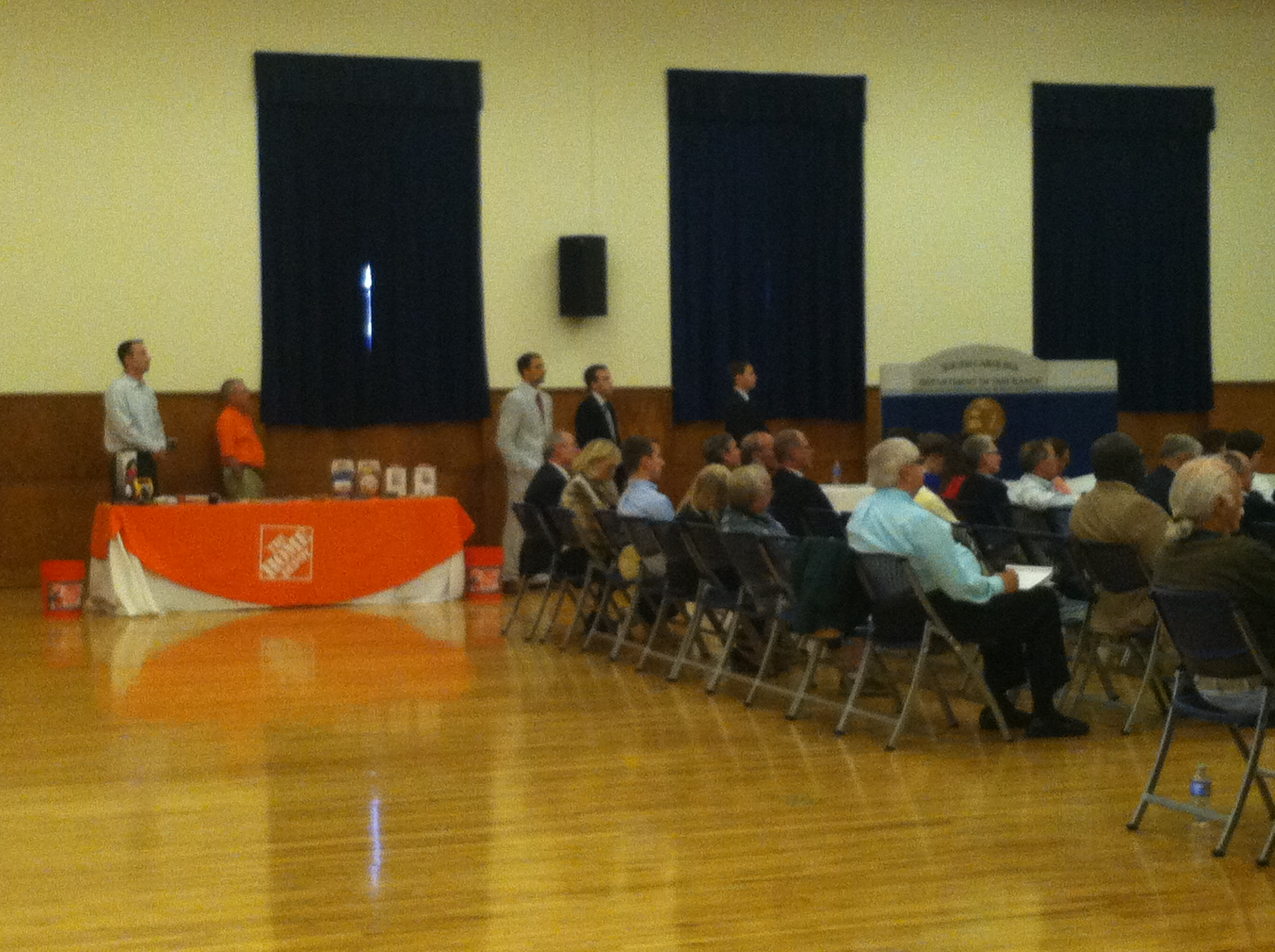 Attendees of the public hearing and Home Depot's table
